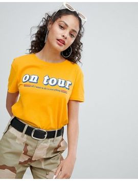 bershka-on-tour-slogan-t-shirt by bershka