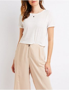 Slub Knit Crop Tee by Charlotte Russe