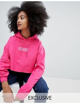 crooked-tongues-oversized-cropped-hoodie-in-pink-with-logo-print by crooked-tongues