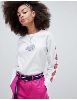 obey-relaxed-long-sleeve-t-shirt-with-90s-front-logo-and-arm-print by obey