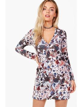 paisley-wrap-shirt-dress by boohoo