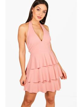 tiered-skirt-skater-dress by boohoo