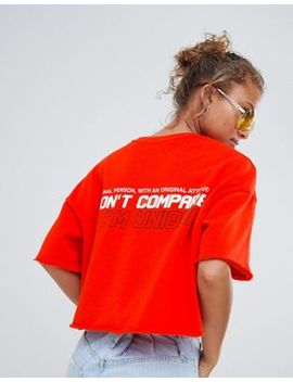 bershka-cropped-awesome-slogan-tee by bershka