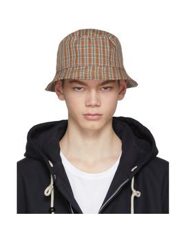 red-&-orange-check-buk-bucket-hat by acne-studios