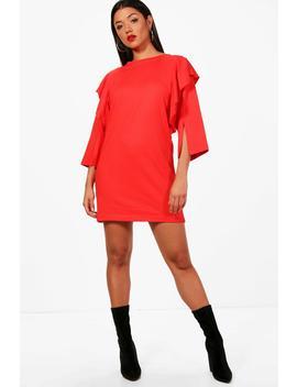 ruffle-sleeve-thick-jersey-t-shirt-dress by boohoo