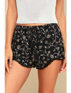 front-runner-black-floral-print-drawstring-shorts by lulus