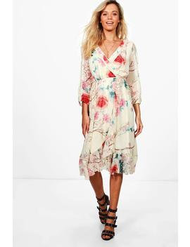 boutique-floral-wrap-midi-dress by boohoo