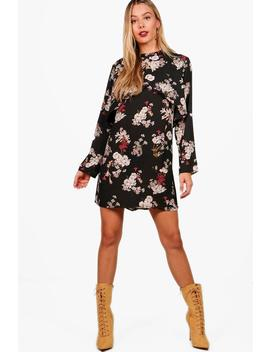 floral-double-layer-shift-dress by boohoo