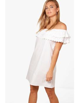 pearl-lace-off-shoulder-shift-dress by boohoo