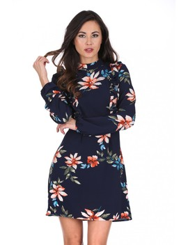 navy-high-neck-floral-print-dress by ax-paris