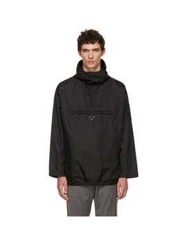 black-half-zip-hooded-jacket by prada
