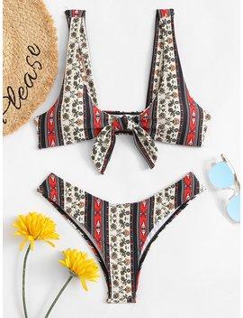 mixed-print-knot-front-bikini-set by romwe