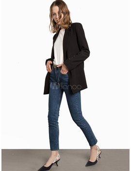 black-blazer-jacket-women-long-sleeve-turndown-collar-casual-suit by milanoo