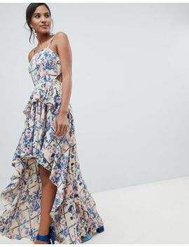 asos-design-high-low-maxi-dress-in-grid-floral by asos-design