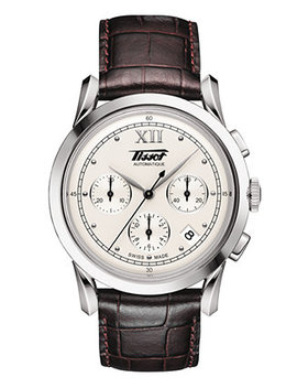 mens-swiss-automatic-chronograph-heritage-1948-brown-leather-strap-watch-395mm by tissot