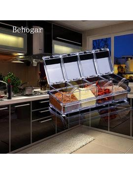 behogar-4pcs-seasoning-box-rack-spice-condiment-pots-storage-container-cruet-organizer-w_lid-spoon-kitchen-supplies-accessories by behogar
