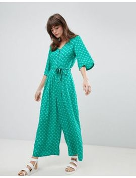 monki-seashell-print-tie-front-cropped-jumpsuit by monki