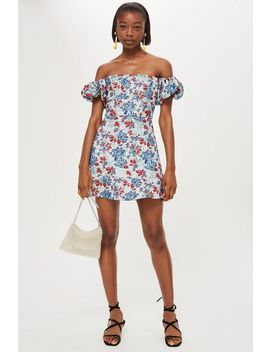 metallic-floral-jacquard-mini-dress by topshop