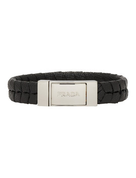 black-saffiano-leather-bracelet by prada