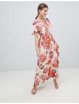 oasis-rose-print-angel-sleeve-maxi-dress by oasis