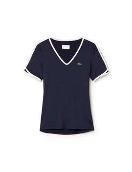 womens-lacoste-sport-v-neck-stretch-tech-jersey-tennis-t-shirt by lacoste