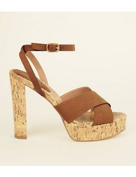 tan-suedette-cork-platform-block-heels by new-look