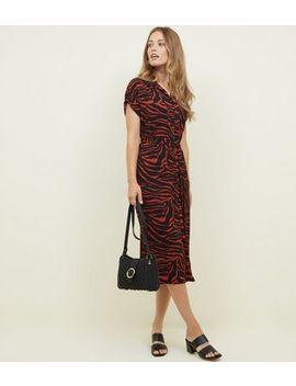 red-zebra-print-midi-shirt-dress by new-look