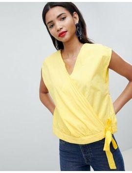 esprit-tie-front-crop-blouse by esprit-