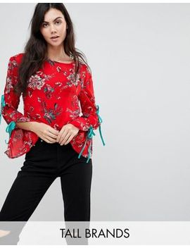 glamorous-tall-top-with-wide-ribbon-tie-sleeves-in-floral by glamorous-tall