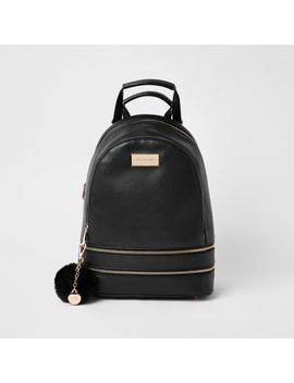 black-double-zip-bottom-backpack by river-island
