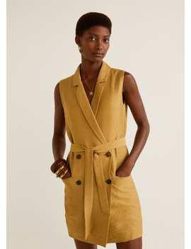 getextureerde-jurk-met-revers by mango
