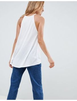 asos-design-cami-with-high-neck-and-dip-back-in-white by asos-design