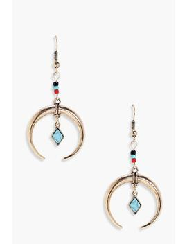 eliza-statement-horn-and-stone-earrings by boohoo