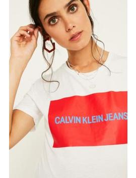 calvin-klein-box-logo-white-t-shirt by calvin-klein