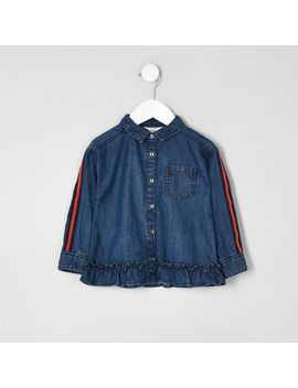mini-girls-blue-denim-tape-boxy-shirt by river-island