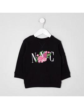mini-kids-black-'nyc'-floral-print-sweatshirt by river-island