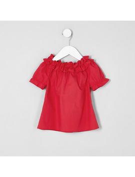 mini-girls-red-ruffle-bardot-top by river-island