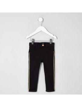 mini-girls-black-molly-stripe-skinny-jeans by river-island