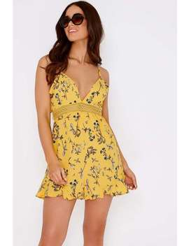 cyru-yellow-floral-lace-waist-playsuit by in-the-style