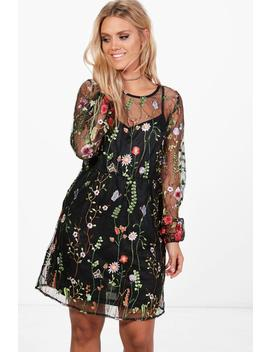 plus-embroidered-skater-dress by boohoo