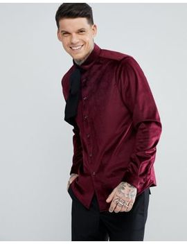 asos-regular-fit-velvet-shirt-with-pussy-bow by asos