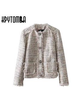 vintage-frayed-trim-gem-snap-button-tweed-jacket-women-coat-2018-new-fashion-o-neck-long-sleeve-outerwear-casual-casaco-feminino by kpytomoa