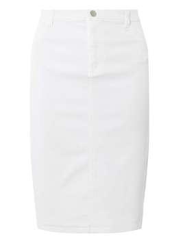 White Denim Pencil Skirt by Dorothy Perkins