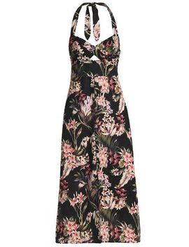 cutout-floral-print-linen-and-cotton-blend-halterneck-midi-dress by zimmermann