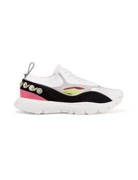 valentino-garavani-heroes-embellished-suede-and-leather-trimmed-stretch-knit-sneakers by valentino