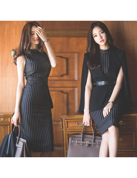 2-piece-women-dress-new-arrival-spring--bandage-sexy-party-bodycon-vintage-vestidos-dresses--2018-slim-black-stripe-midi--dress by ali-express