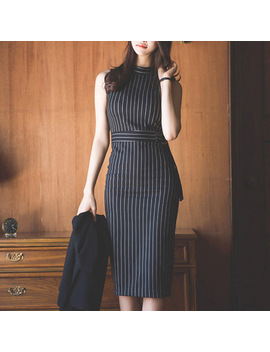 striped-office-lady-work-dress-women-sleeveless-slim-sexy-summer-autumn-packaged-hip-elegant-fashion-vestido-mujer by stilure