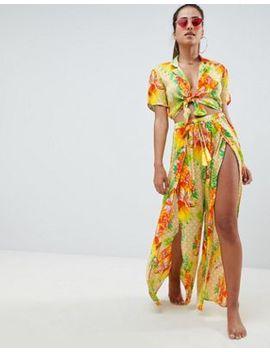 asos-design-tropical-split-front-beach-trouser-co-ord by asos-design