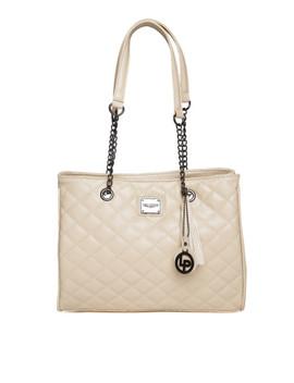 lisa-haydon-for-lino-perros-beige-quilted-shoulder-bag by lino-perros