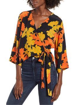 big-bloom-tie-wrap-blouse by topshop